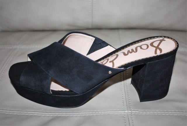 4617a52bb3b Sam Edelman Jayne Crisscross Platform Slide Heeled Sandals Black Suede Size  9