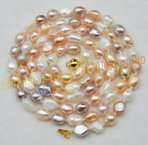 Genuine 8-9mm Natural White Freshwater Cultured Baroque Pearl Necklace 36/'/'