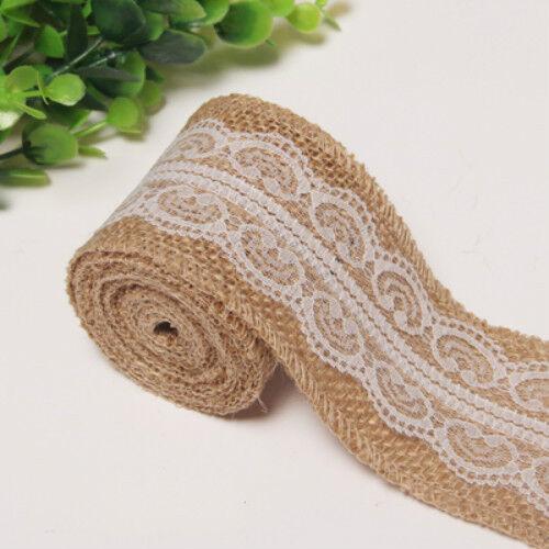 2M Natural Vintage Jute Burlap Hessian Rustic Ribbon Lace Trim Wedding Decor