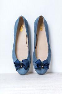 Blue-Suede-Leather-Ballet-Pump-Shoes