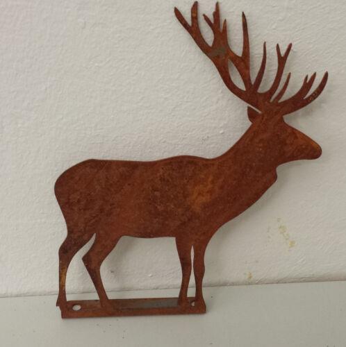 Edelrost Hirsch mit Platte Geweih Figur Wald Jäger Gartendeko Rost Metall 18cm