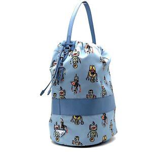 50bf6a42523f Prada Bucket Bag Robot Print Large Blue Nylon Limited Edition New