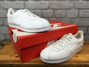 NIKE-CORTEZ-WHITE-LEATHER-TRAINERS-CHILDRENS-GIRLS-LADIES-VARIOUS-SIZES-T