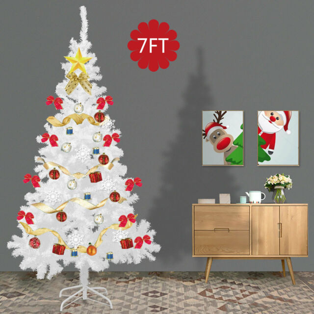 7Ft Artificial PVC Christmas Tree W/Stand Holiday Season Indoor Outdoor  White - Christmas Tree 6ft Artificial With Stand Holiday Season Indoor