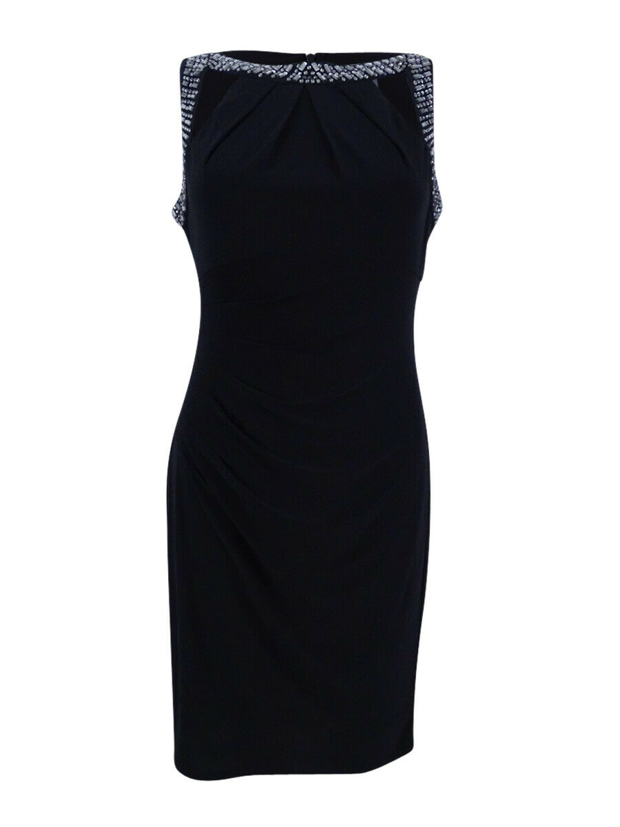 Vince Camuto Woherren Embellished Ruched Sheath Dress (4, schwarz)