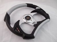 1984+ Club Car Ds Black Silver Steering Wheel Golf Cart With Chrome Adapter
