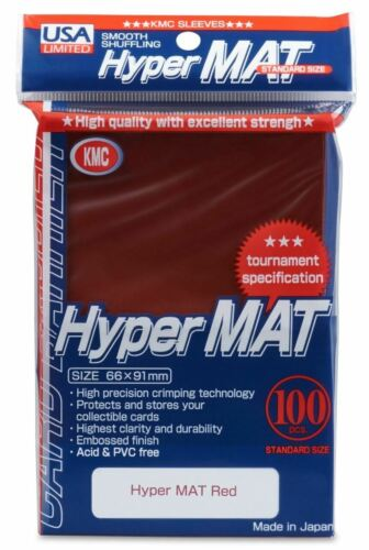 KMC Hyper Matte USA 100 ct Standard Size Sleeves Red Pack