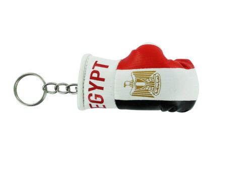 PORTACHIAVI pelle porta chiavi auto egiziano Guantoni da boxe bandiera Egitto