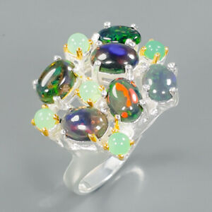 Rainbow-SET7x5mm-Natural-Black-Opal-925-Sterling-Silver-Ring-Size-6-5-R88533