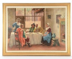 BEAUTIFUL Antique American Salon Tavern Scene Oil Canvas G. Miller FINE WORK