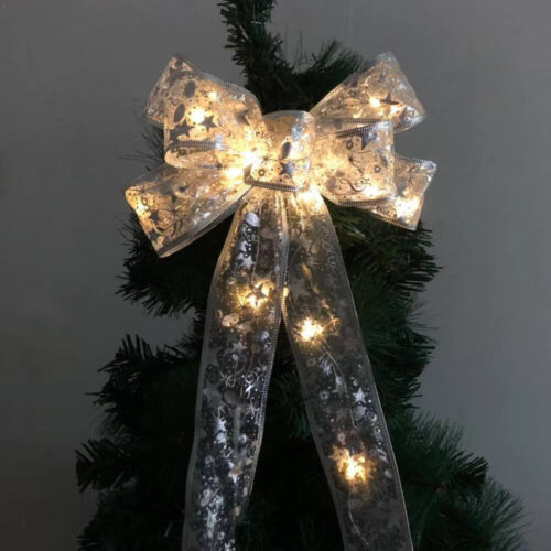 LED Christmas Tree Top Topper Ribbon Bow Light Up Bow Xmas Hanging Decoration