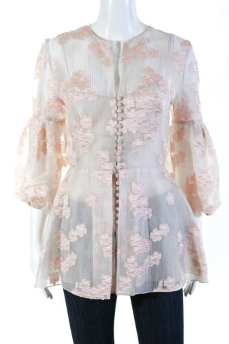 Lela Rose Womens Long Full Sleeve Button Floral Top Pink Size 4