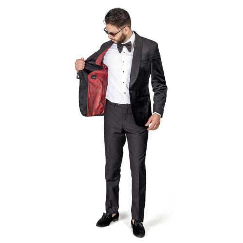 Black Shawl Lapel VELVET Jacket Slim Fit Tuxedo Black Pants 1Button  BY AZAR MAN