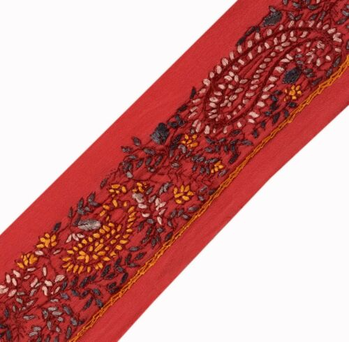 Vintage Saree Border Indian Craft Trim Hand Embroidered Sewing Ribbon Lace Red