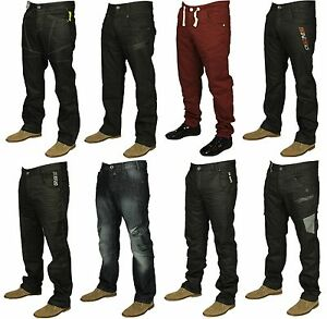 Mens-Brand-New-Enzo-Jeans-In-Black-Coated-Stone-Wash-Colours-Straight-Leg-Jeans