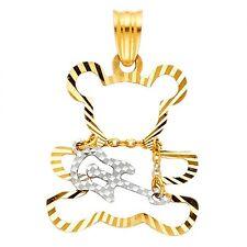 14k Multi Tone Gold Fancy Designer Diamond Cut Guitar Bear Charm Pendant