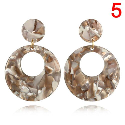Round Acrylic Dangle Drop Earrings Geometric Ear Studs Earrings Women/'s Jewelry#
