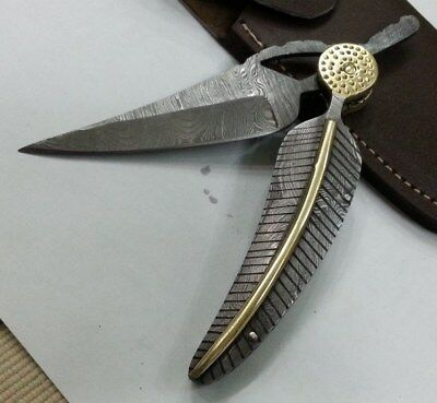 Beautiful Custom handmade A work of ART Moqen's Leaf Damascus Sharp Pocket knife