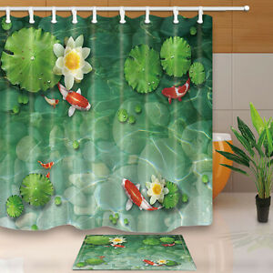 Fish-and-lotus-Water-lily-Waterproof-fabric-Shower-Curtain-Bathroom-180x180cm