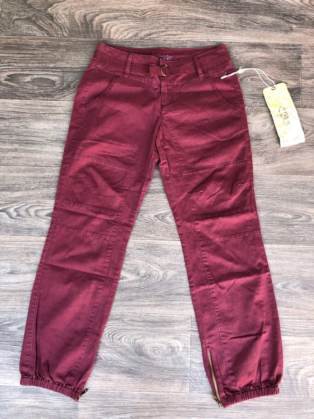 NWT Da Nang Women's Cotton Cargo Pants Elastic Ankle Grape Burgundy