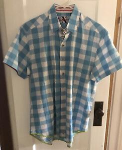 Robert-Graham-X-Collection-Large-Blue-White-Checked-Short-Sleeve-Shirt-Flip-Cuff