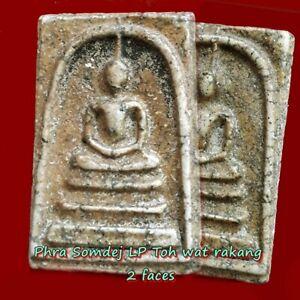 Phra-Somdej-LP-Toh-wat-rakang-2-faces-Old-Thai-antiques-amulet-pendant-magic