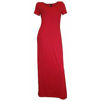 Maxikleid Gr. 38 rot langes Jersey Kleid Hauskleid Sommerkleid Viskose