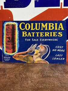 VINTAGE-034-COLUMBIA-BATTERY-034-DEALER-SIGN-HEAVY-PORCELAIN-SIGN-11X16-5-BEAUTIFUL