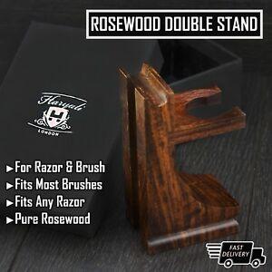 Stile-classico-legno-supporto-per-rasoio-e-pennello-da-barba-finitura-color-noce