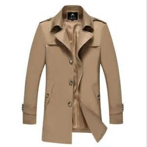 Business Lapel Trench Breasted Classic Chic Men Coat Single Windbreaker Long Mid qg7tpWw