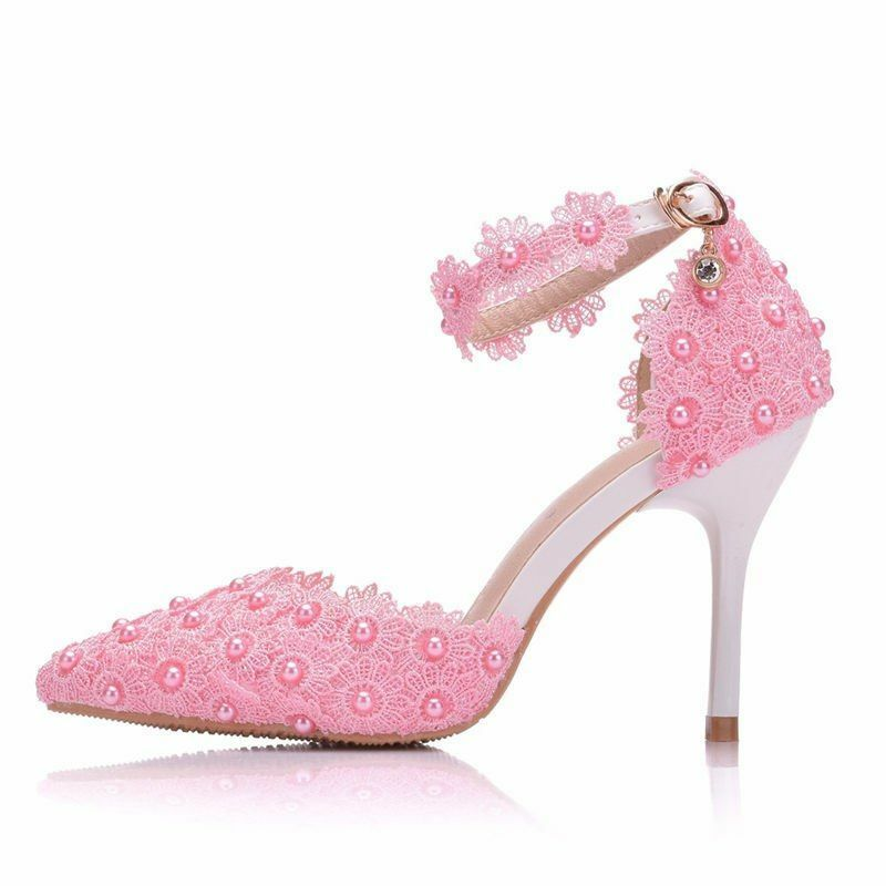 Women's shoes Lace Ankle Strap High Heels White Bridal Wedding Wedding Wedding Pumps Sandals New f8806b