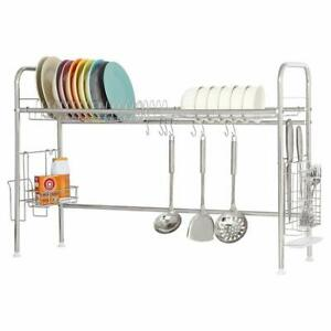 2-Tier-Dish-Drainer-Rack-Stainless-Steel-Dish-Storage-with-Chopstick-Holder