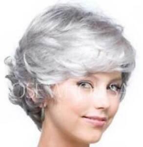 Hellojf1284 Popular Style Short Gray White Mixed Hair Wig Wigs For Women Ebay