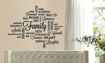 FAMILY WORDS COLLAGE Vinyl Lettering Wall Art Quote Sticky Decals Sticker Decor