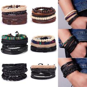 4pcs-Punk-Multilayer-Handmade-Leather-Buckle-Woven-Bead-Bracelets-Men-039-s-Bangle