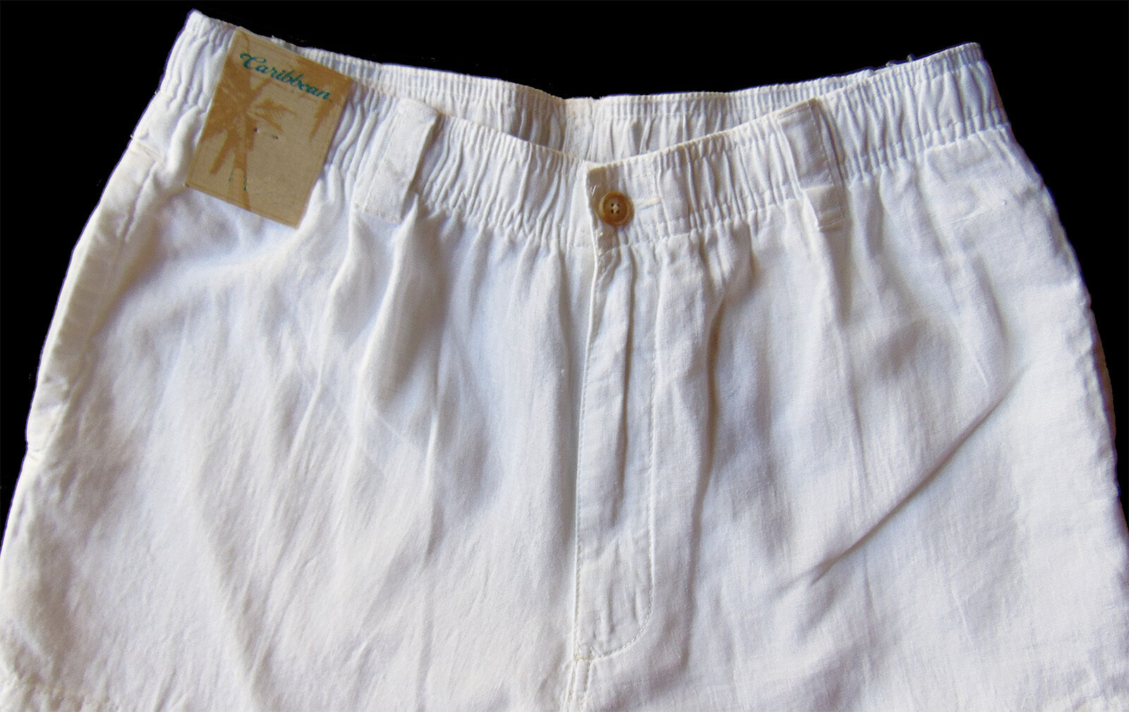 Men's CARIBBEAN White Pure LINEN Drawstring Pants 40x32 NEW NWT Cargo AWESOME