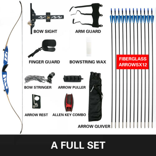 12PCS Recurve Bow Set 24LBS Archery Bow Arrow Adults Youth Shooting Practice