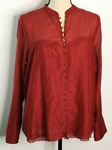 Free-People-Women-039-s-Button-Down-Blouse-Semi-Sheer-Red-Size-Medium