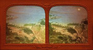 Monaco Panorama Vintage Foto Stereo Diorama Tessuto Albumina Ca 1860