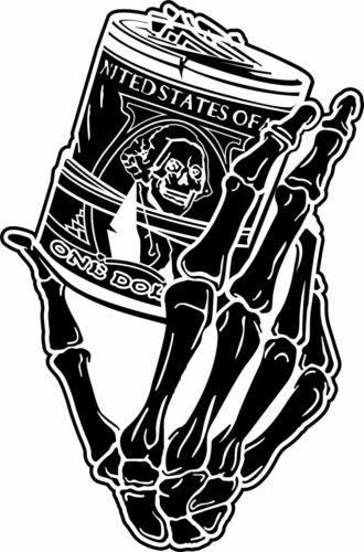 Skeleton Skull Hand Money Roll Window Vinyl Decal Sticker