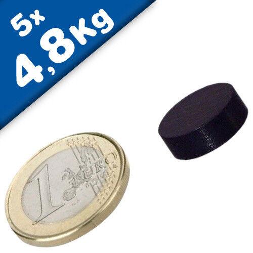 Rundmagnet Ø 15x 5mm 5 x Scheibenmagnet Neodym N40 hält 4,8kg Epoxid