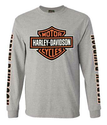 Harley-Davidson Men/'s Long Sleeve Orange Bar /& Shield White Shirt 30291964