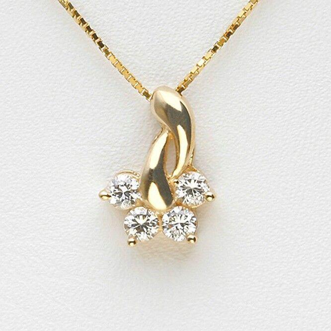 0.21CT NATURAL ROUND DIAMOND 14K YELLOW gold WEDDING ANNIVERSARY PENDANT