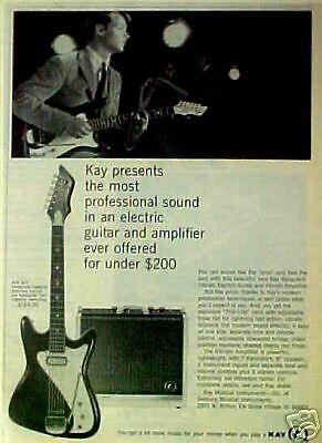 1966 Kay Vanguard Electric Guitars~Vibrato Amplifiers Music Memorabilia Art AD