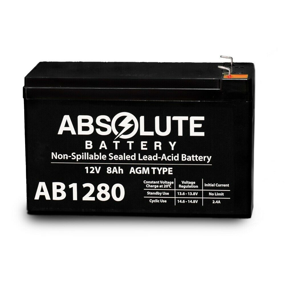 NEW 12V 8AH AB1280 F1 SLA Replacement Battery for Exide EP1229W
