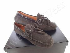New Ralph Lauren Collection Italy Charcoal Calf Suede Loafers Shoes size 9.5 D