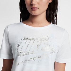 a3ac3f51 Image is loading Nike-Sportswear-Essential-Metallic-Women-039-s-T-Shirt-