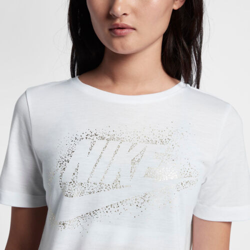 Nike Casual Dorado Metallic mujer L Blanco de M S Essential Camiseta Sportswear Top ROqfCFwxBB