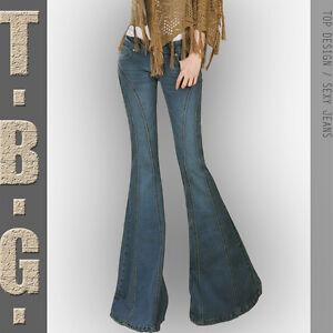 plus size women's long denim wide legs bell-bottom pants cropped