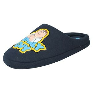 5c09dc1098a0c6 MENS FAMILY GUY PETER GRIFFIN NAVY TEXTILE NOVELTY MULE SLIPPERS   eBay